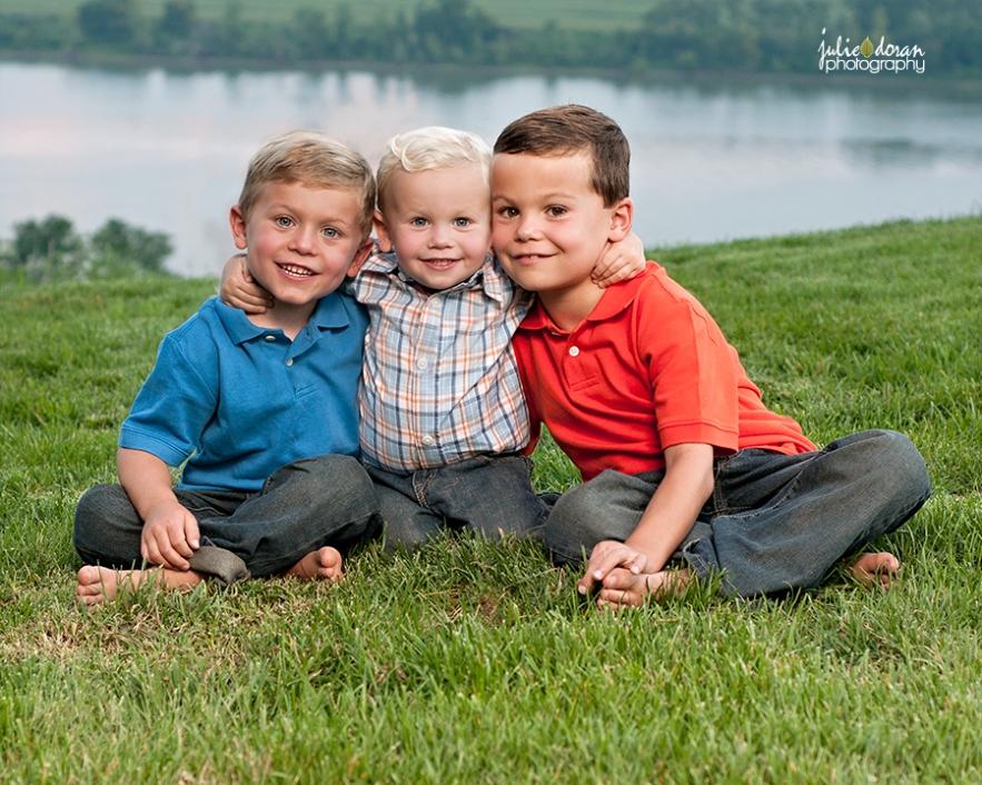 three brothers hugging